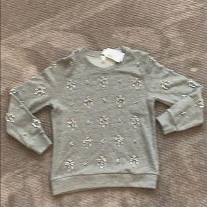 J Crew crystal Beaded sweatshirt NWT